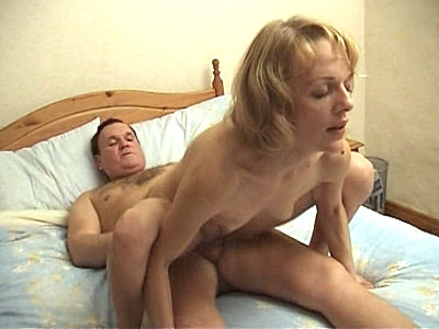 strokes his cock Riding Mature